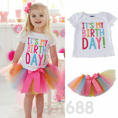 It's My Birthday Tulle Tutu Skirt Applique T-Shirt Girls Party Outfit Dress Set
