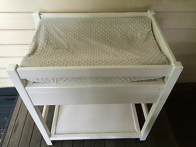 Timber baby change table in white including foam topper