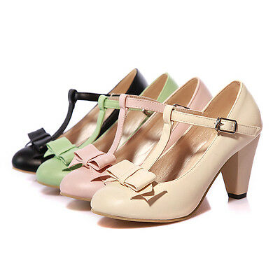 Womens T-strap Buckle Pumps High Block Heels Bowknot Mary Jane Shoes Plus Size