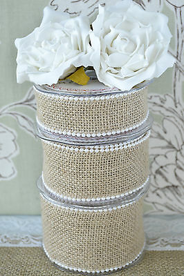 Burlap / Hessian Pearl Edge Trimming. Rustic Wedding Ribbon. 3 yard reel (2.74m)