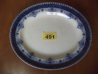 Leighton Pottery B & L.B Flow Blue SOLENT - 30.5 cm Oval Meat Serving Plate