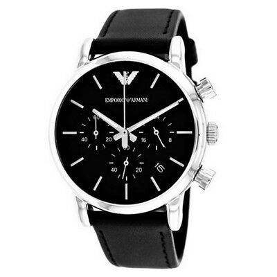 NEW Emporio Armani AR1733 Classic Black Leather Strap Dial Men's Gents Watch