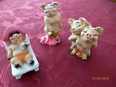 Set of Three Hand Painted Italian Lovely Pig Ornaments