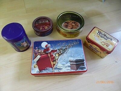 ASSORTED 5 x VINTAGE COLLECTABLE TIN AND METAL BOXES / CAKE BOXES