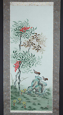 Japanese Hanging Scroll: Sparrows and Beautiful Tree and Plants @40