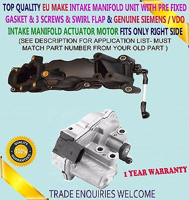 Intake Manifold Motor Actuator For Audi A4 A6 A8 Q5 Q7 Vw 2.7 D 3.0 D Right Side