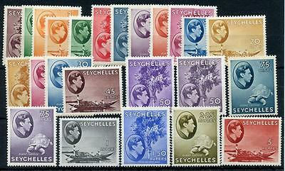 Seychelles 1938-49 24 values to 5r SG135/49 (exc SG146) MLH/MM cat £400