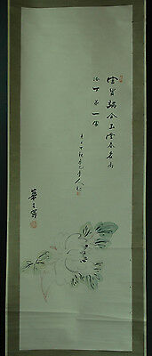 Chinese Hanging Scroll: Calligraphy and Flower @49