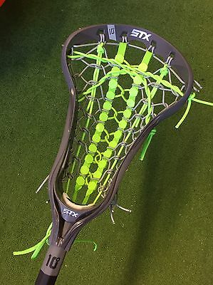 New STX Crux i Women's Lacrosse Stick - Grey With Neon Green Runway Pocket