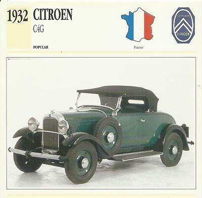 CITROEN C4G 1932 original 2-sided Edito collector's / trading card