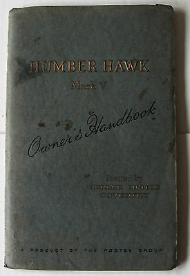 HUMBER HAWK MARK V Owners Handbook 1953 inc Lubrication & Maintenance Chart