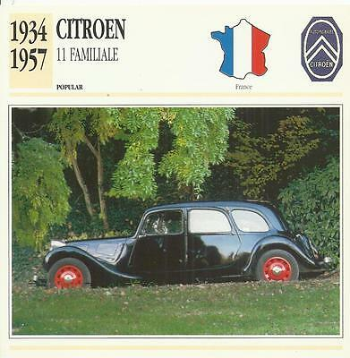 CITROEN 11 FAMILIALE 1934 - 1957 original 2-sided Edito collector's trading card