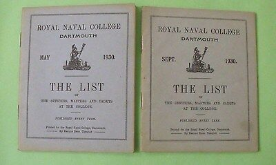 Royal Naval College, Dartmouth. The List of Officers, Masters & Cadets x 2. 1930