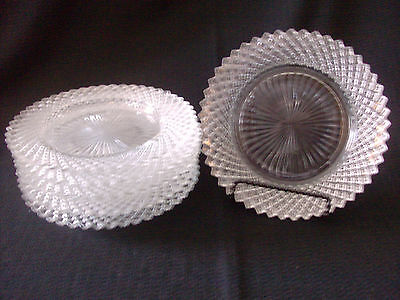 "Anchor Hocking Miss America Set Of 5 Clear Plates 1 Saucer 5 1/2"" Diam"