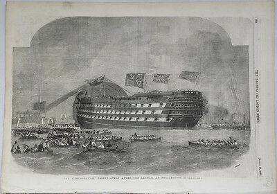 LAUNCH OF THE MARLBOROUGH, PORTSMOUTH - 19th CENTURY MARITIME ENGRAVING c.1855