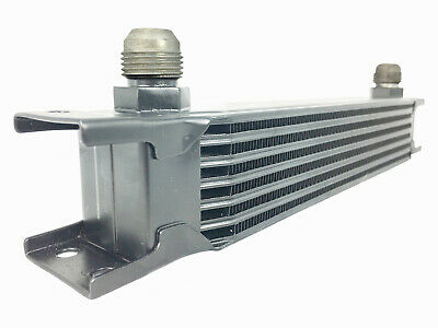 Black 7 row universal front mount oil cooler - AN10 7/8 14 UNF