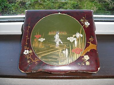 Antique / Vintage Oriental Highly Decorated Lacquered Box With Mother Of Pearl