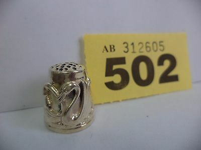 Vintage .925 Solid Silver Thimble with Birds / Swans Decoration