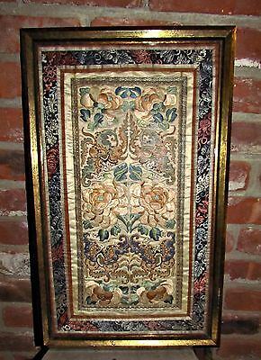 antique chinese silk 2 panel embroidery forbidden stitch gold floral butterflies