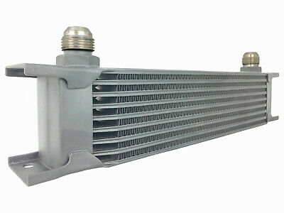 Black 9 row universal front mount oil cooler - AN10 7/8 14 UNF