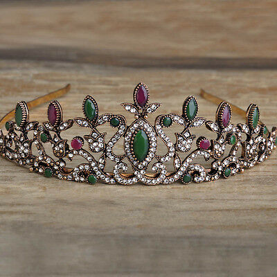 Turkish Antique Gold Branch Sculpture Tiara Head Piece, Indian Agate Wedding