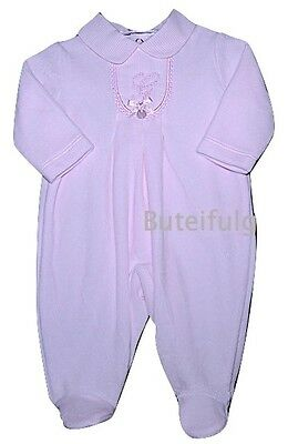 Baby Girls Pink Velour Embroidered All in One Romper 0-3 3-6 Month