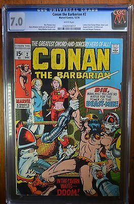 CONAN THE BARBARIAN #2  CGC 7.0 White pages Marvel Comic 12/70