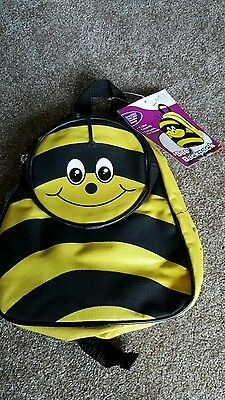 Bee Toddler Backpack in black and yellow bnwt