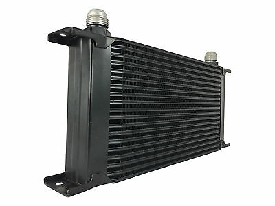 Black 19 row universal front mount oil cooler - AN10 7/8 14 UNF