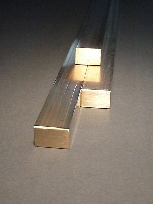 1 Messingstange 12mm x 8mm x  370mm  Messing Flach Vierkantmessing Ms58