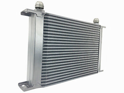 Black 25 row universal front mount oil cooler - AN10 7/8 14 UNF
