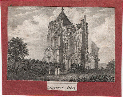 CROWLAND ABBEY, LINCOLNSHIRE - ORIGINAL 19th CENTURY MINIATURE ENGRAVING c.1800s