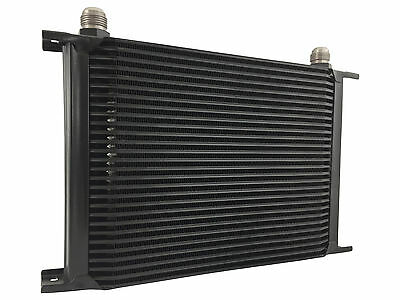Black 28 row universal front mount oil cooler - AN10 7/8 14 UNF