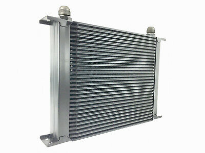 Black 30 row universal front mount oil cooler - AN10 7/8 14 UNF