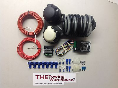 Twin 7 Pin 12n 12s Electric Towbar Towing Wiring Kit Charging 7way bypass relay