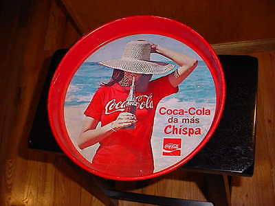 Vintage MEXICAN Coca-Cola Tin Tray Girl with Bottle & Sun Hat on the Beach 1970s