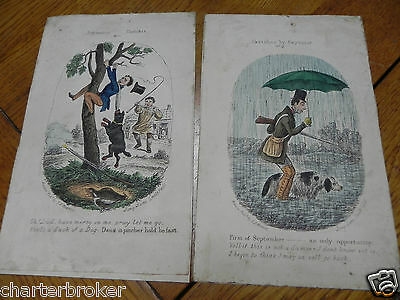 PAIR OF HUMOROUS COLOURED ENGRAVING SKETCHES BY ROBERT SEYMOUR  c1843. J.L.MARKS