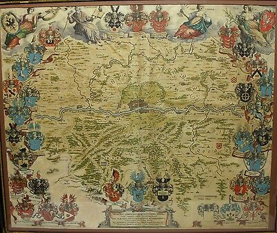 Antique 1700S Hand Colored Copper Engraving Map Of Frankfort Germany By Blaeu