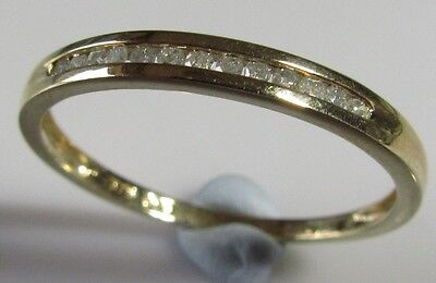 Secondhand 9Ct Yellow Gold Channel Set Diamond Half Band Ring Size Q.