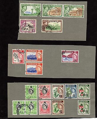 Stamps ~ JAMAICA Mounted to Album Paper ~ MIXED Unsorted #1