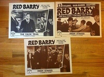 RED BARRY Movie POSTER ORIGINAL STUDIO 11x14 Buster Crabbe set of 3
