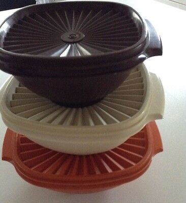 Set Of 3 Vintage Tupperware Storage Servalier Bowls Containers