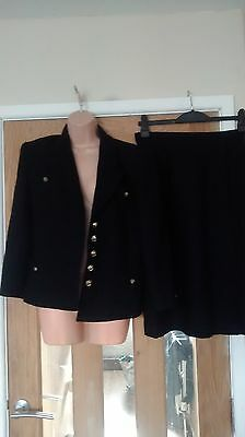 Ladies suit black size 12 windsmoor lined jacket and skirt pure new wool