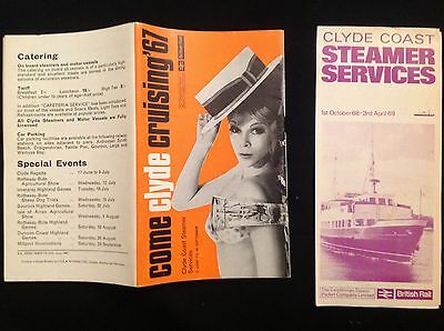 OLD VINTAGE 1960's RAILWAY CLYDE COAST STEAMERS CRUISING SHIP TIMETABLES