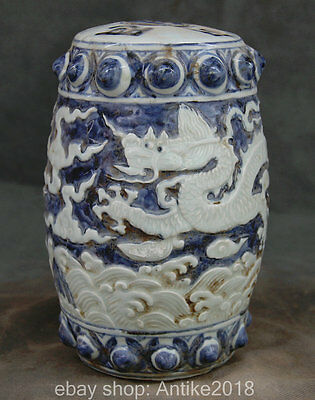 21CM Ming Xuande Marked Chinese Blue White Porcelain Dynasty Dragon Chair Stool
