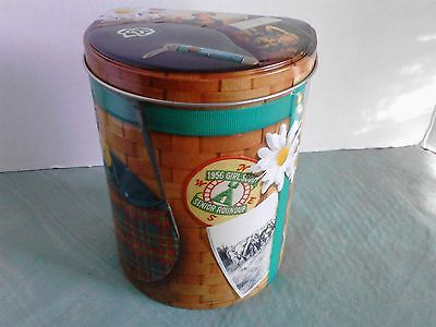 GIRL SCOUT EMPTY COOKIE TIN Container 1956 Senior Roundup backpack Design used