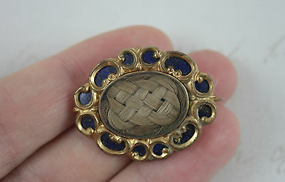 Victorian Blue Enamel Mourning Brooch Blonde Hair Pleated Antique Pendant