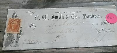 Obsolete Bank Check 1869 C.W. Ssmith & Co Bankers Cooperstown NY W/ Stamp #2