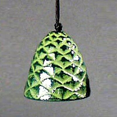 Vintage Japanese Iron Figural  Bell/windchime-Green Pine Cone