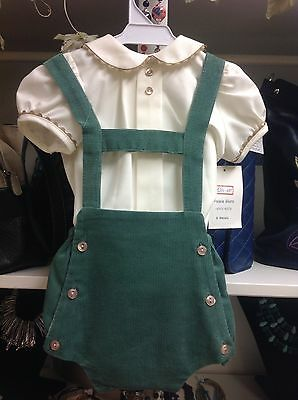 Spanish Romany Romper unisex Pinafore Cream and Green coudrouy  6-18Mths 6272
